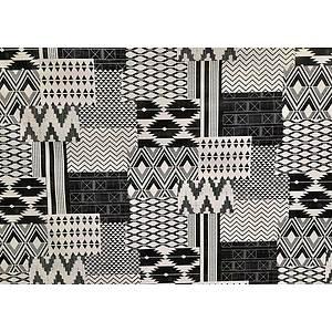 Toile cirée PVC 140 cm motif géométrique noir