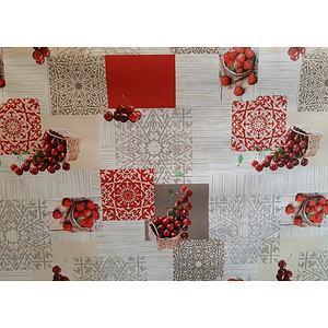 Toile cirée PVC 140 cm motif cerises et fraises