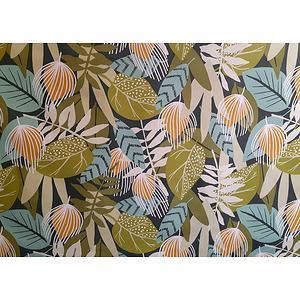 Toile cirée PVC 140 cm motif feuillage vert