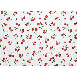 Tissu 100% coton imprimé CERISES en 150 cm de large
