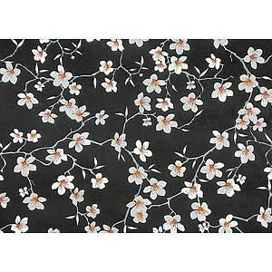 Tissu 100% coton fleurs d'amandier sur fond noir 150 cm de large