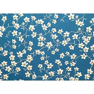 Tissu 100% coton fleurs d'amandier sur fond bleu 150 cm de large