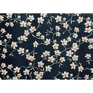 Tissu 100% coton fleurs d'amandier fond marine 150 cm de large