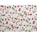 Tissu 100% coton fruits rouges sur fond vichy 150 cm de large
