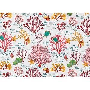 Tissu 100% coton imprimé CORAIL rouge en 150 cm de large