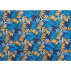 Tissu 100% coton imprimé SAO PAULO bleu 150 cm de large