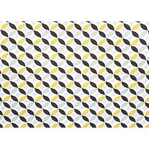 Tissu 100% coton motif géométrique cercles jaunes 150 cm de large