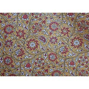 Tissu 100% coton SRILANKA beige motif floral 150 cm de large