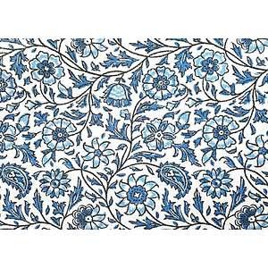 Tissu 100% coton SRILANKA bleu motif floral 150 cm de large
