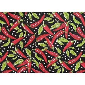 Tissu 100% coton CHILI fond noir 150 cm de large