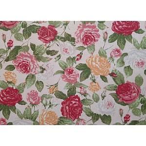Tissu 100% coton SKATE motif floral fond rose 150 cm de large