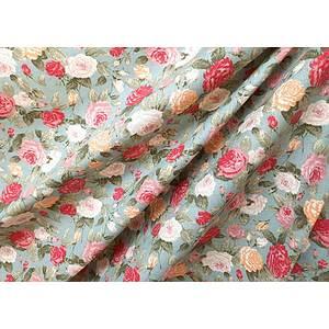 Tissu 100% coton SKATE motif floral fond vert 150 cm de large
