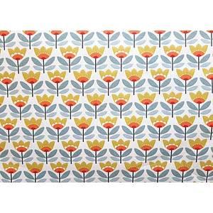 Tissu 100% coton SVEN motif floral fond beige 150 cm de large
