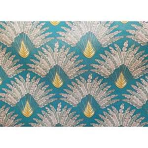 Tissu 100% coton MADAGASCAR fond bleu canard 150 cm de large