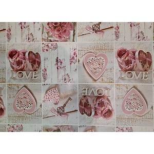 Toile cirée LOVE romantique motif coeur et rose