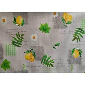 Toile cirée PVC 140 cm motif citron jaune et marguerite