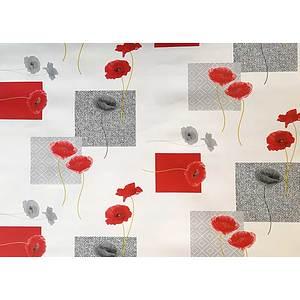 Toile cirée au mètre motif coquelicots rouges et gris