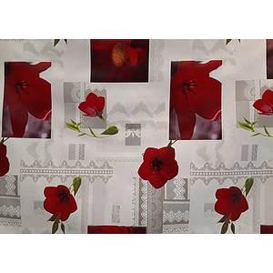 Toile cirée PVC 140 cm motif floral rouge