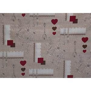 Toile cirée PVC 140 cm motif coeurs, couverts et galons dentelle