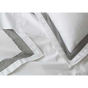 Taie d'oreiller 65x65 100% percale de coton PALACE gris perle