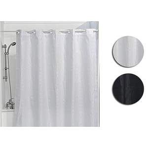 Rideau de douche 180x200 cm à anneaux