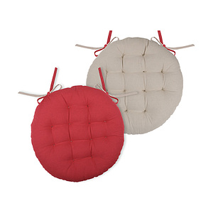 Galette de chaise ronde duo rouge et lin
