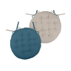 Galette de chaise ronde duo bleu pétrole et lin