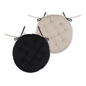 Galette de chaise ronde duo noire et lin