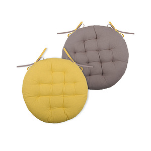 Galette de chaise ronde duo jaune moutarde et taupe