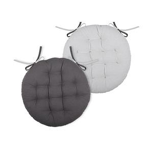 Galette de chaise ronde duo gris perle et anthracite