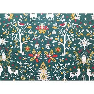 Tissu 100% coton LAPONIE vert thème noël 150 cm de large