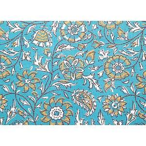 Tissu 100% coton SRILANKA bleu canard 150 cm de large