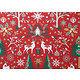 Tissu 100% coton LAPONIE rouge thème noël 150 cm de large