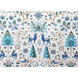 Tissu 100% coton LAPONIE blanc thème noël 150 cm de large