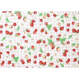 Tissu 100% coton fruits rouges fond vichy rose 150 cm de large