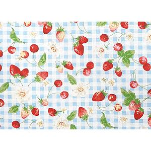 Tissu 100% coton fruits rouges fond vichy bleu 150 cm de large