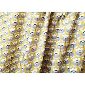 Tissu 100% coton SVEN motif floral fond jaune 150 cm de large
