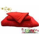 Ensemble éponge rouge drap de bain + serviette + gant