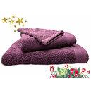 Ensemble éponge aubergine drap de bain + serviette + gant