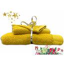 Ensemble éponge safran drap de bain + serviette + gant