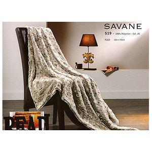 Plaid SAVANE toucher fausse fourrure et polaire - 130x150 cm