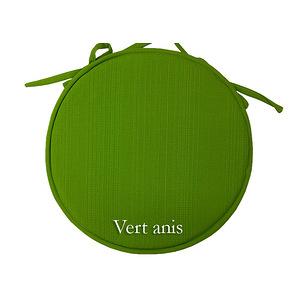 Galette de chaise ronde unie Diam.40 Modèle SUNSHINE vert anis