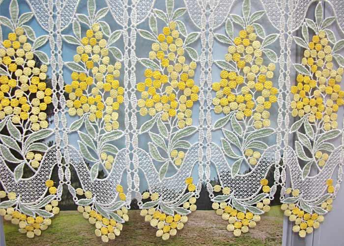 Petit rideau cantonni re macram motif mimosas petit - Macrame rideau cuisine ...