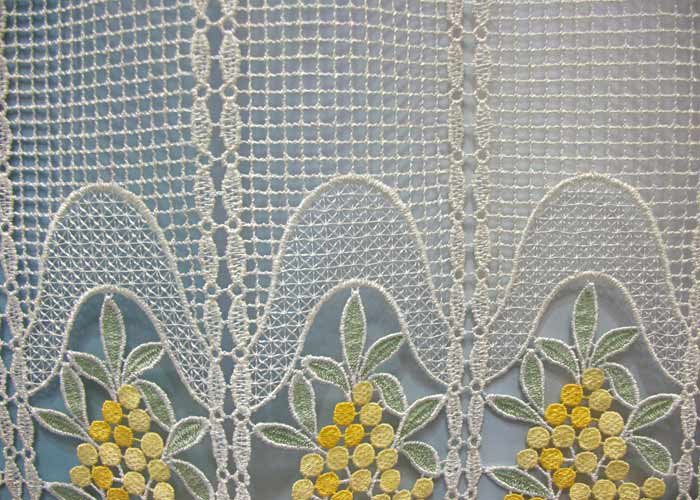 petit rideau cantonni re macram motif mimosas petit rideau pr t poser petit rideau la coupe. Black Bedroom Furniture Sets. Home Design Ideas