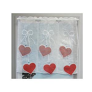 Petit rideau cantonnière fond blanc motifs coeurs rouges