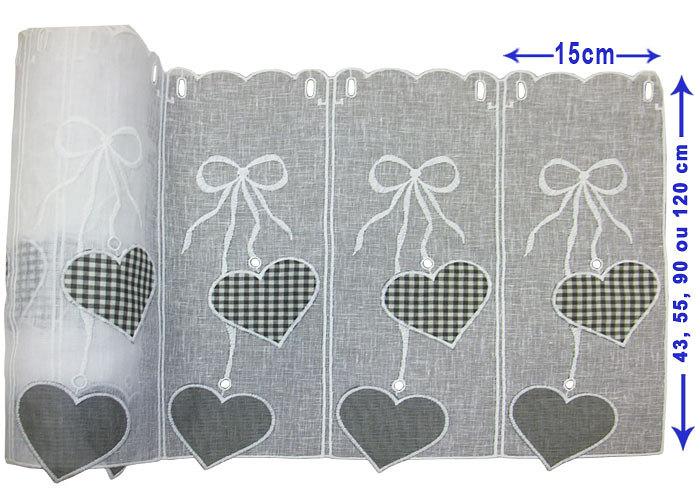 Petit rideau cantonni re blanche motifs coeurs gris cantonni re pr t po - Rideaux au metre a decouper ...