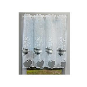 Petit rideau cantonnière fond blanc motifs coeurs gris