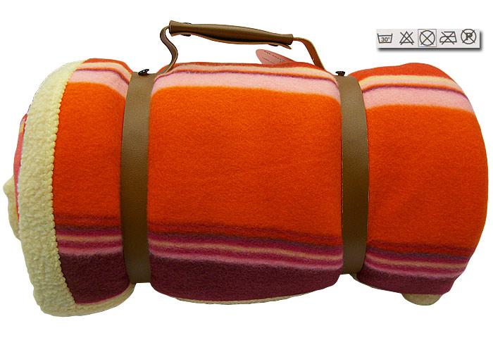 plaid polaire savoie orange et rose 100 polyester 130x150 cm 1 face imitation mouton marque. Black Bedroom Furniture Sets. Home Design Ideas