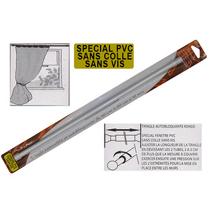 Tringle à vitrage extensible blanche spéciale PVC Ni colle ni vis