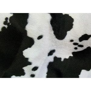 Tissu fausse fourrure imitation vache tâches noires / fond blanc